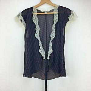 DVF Diane Von Furstenberg Vintage Wrap Top Black